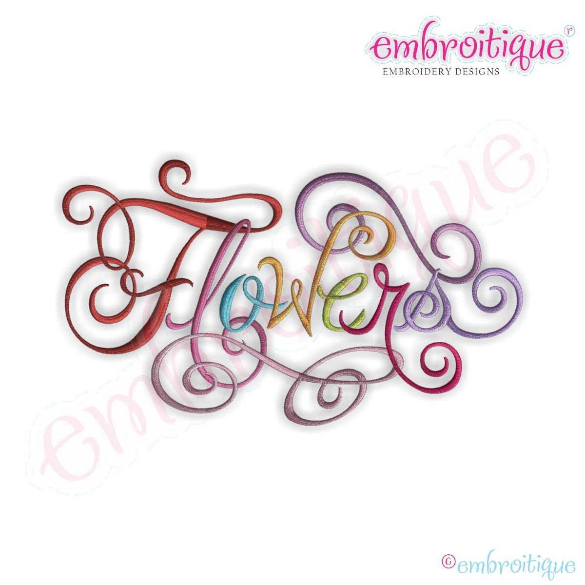Flowers Calligraphy Script Embroidery Design Instant Download