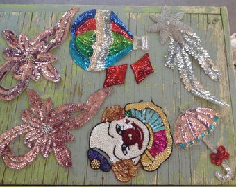 Vintage Sequined Appliqués ~ Pink Flowers, Bows, Clown, Umbrella, Hot Air Balloon ~ Sewing Notions ~ Costume Supplies