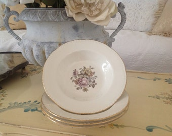 Cunningham & Pickett  Homer Lauglin Stratford Bowls  ~ Set Of Four Vintage Bowls ~ Floral Pattern Shabby Chic China