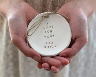 I love you more Wedding ring bearer, Ring bearer pillow alternative, Ring dish Alternative Wedding Ring pillow