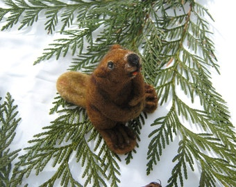 OOAK Little Woodland Brown Beaver Needle Felted Soft Sculpture