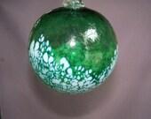 Hand Blown Art Glass Christmas Ornament/Ball/Suncatcher, Green & White Color