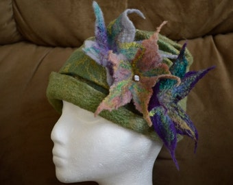 Cloche, hand made merino wool and silk roving, all hand made and dyed to be one of a kind, sage green, purple, buff pink, turquoise.