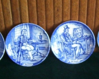 4 Enoch Wedgwood Tunstall LTD Small Blue and White Made in England Plates,Game Keeper,Soldier,Farmer,Pedlar, 4 1/8 inch  Collector Plate