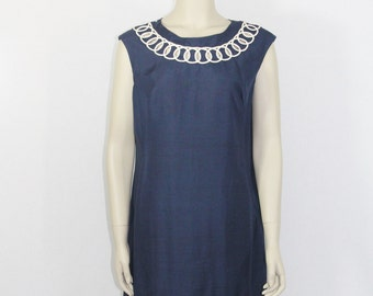 SALE.....Vintage 1960s Dress -  Navy Blue Silk with White 'Ding Dong' Scroll Trim  Dress - 42 / 38 / 45