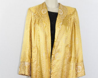 1940s Vintage Lounge Coat - Gold Silk Flared Lounge Jacket
