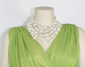 SALE......1950s Vintage Necklace - Five Strand Wedding Pearls and Aurora Borealis - Bridal Necklace