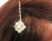 Silver Handmade Rhinestone Bobby Pin Upcycled Recycled Repurposed Jewelry Decorative Hair Pin Hair Accessories, Vintage Pin Handmade Jewelry