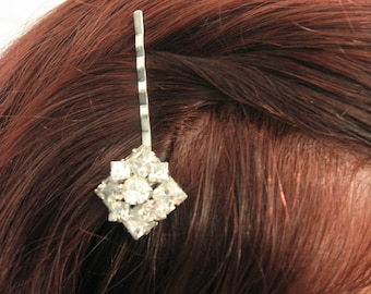 Silver Handmade Rhinestone Bobby Pin Upcycled Recycled Repurposed Jewelry Decorative Hair Pin Hair Accessories, Vintage Pin Handmade Jewelry