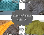 KNITTING PATTERN-Choose Any 5, Dishcloth Patterns