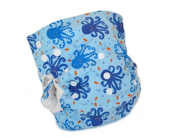 Cloth Diaper Cover OS - Octopus, ocean, fish, blue, side snap