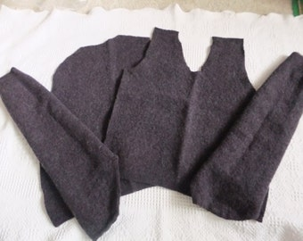 Felted Extra Fine Merino Wool Sweater Remnants Black Recycled Fabric Material Sewing Crafts Upcycle