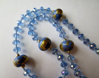Periwinkle Blue and Gold Rosary