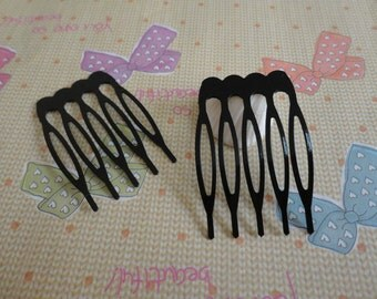 100 pcs Nickel Free Black Plated Hair Comb with 5 Teeth Barrette Pin 23x40mm
