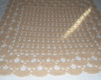 Crocheted  Baby Afghan  - Throw -  Blanket  - Accessories ''SHELLS GALORE'' in Soft Tan
