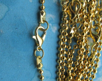 10pcs 20 inch 2.4mm Gold plated Facet  ball necklace chains with lobster clasps