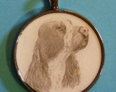 Springer Spaniel Original Pencil Drawing Pendant with Organza Pouch -Choice of Necklaces -Free Shipping- Desert Impressions
