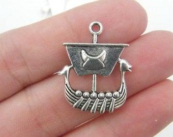 4 Viking boat pendants antique silver tone SW31