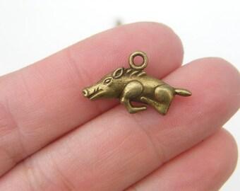 6 Wild boar charms antique bronze tone BC159