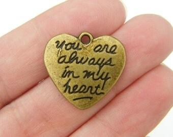 6 Heart charms antique bronze tone BC48