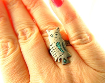 Turquoise Owl Ring - Sterling Silver - Vintage