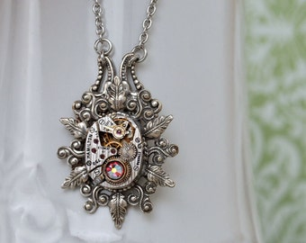 steampunk necklace, anituqed silver leaf necklace, ENCHANTED FOREST vintage Hamilton watch movement with leaf charm and Swarovski rhinestone
