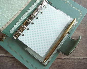 leather binder - lace, powder green - handstitched
