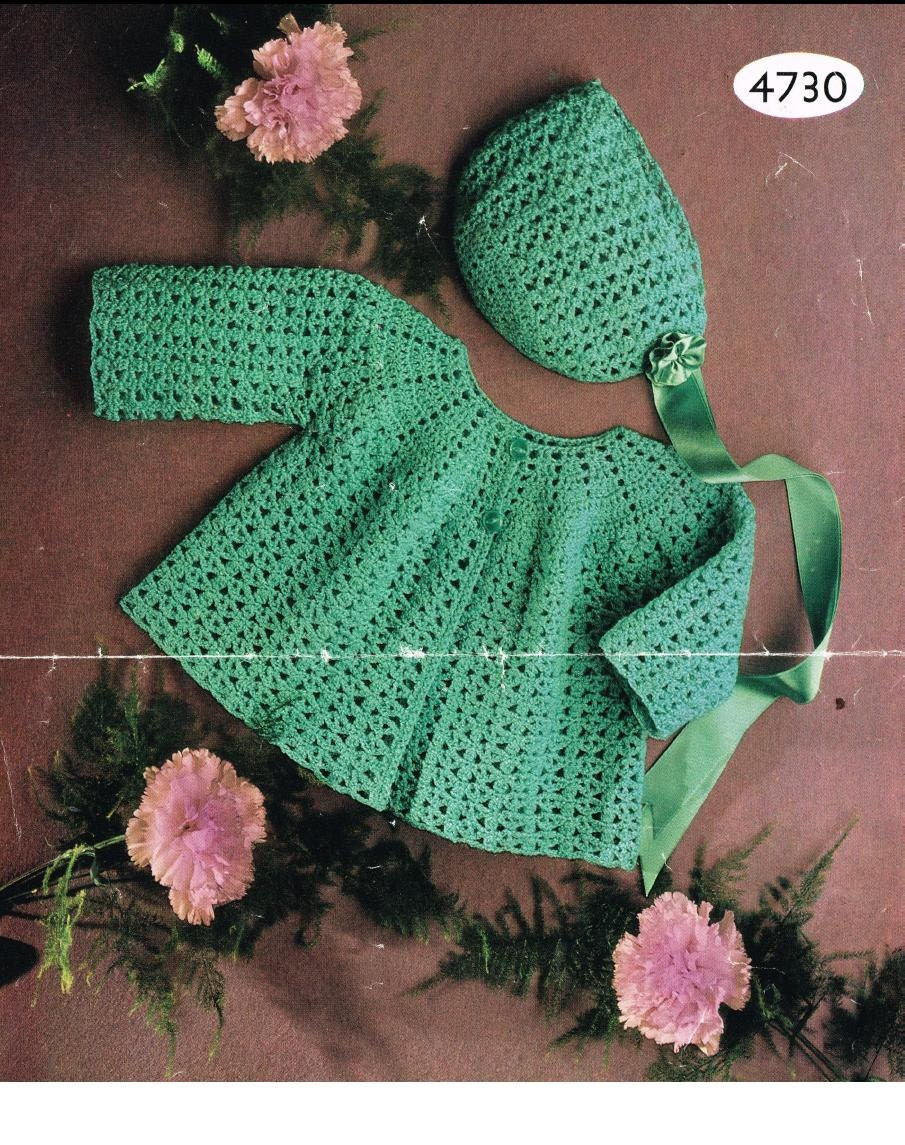 Crochet Baby Jacket Pattern : Crochet PATTERN Baby Matinee/Jacket/Sweater/Coat and Bonnet