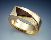 14k gold Rock texture and Dinosaur Bone man's ring
