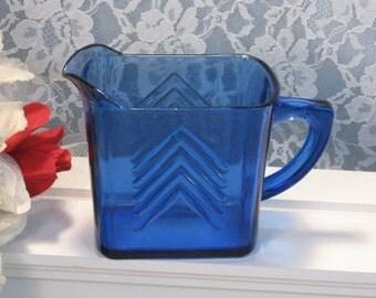 Vintage Hazel Atlas Glass Cobalt Blue Chevron Milk Size Creamer, 1930s Blue Depression Glass, Kitchen Collectible Decor, Antique Glass