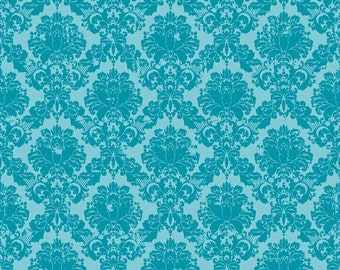 Andrea Victoria by My Minds Eye and Riley Blake Designs Damask Aqua 1/2 yard