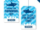 Shark Party - Personalized DIY printable favor tags