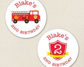 Fire Truck Party - Custom Stickers - Sheet of 12 or 24