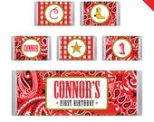 Country Western Party - Personalized DIY printable chocolate bar labels