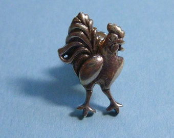Authentic John Hardy Sterling Silver Rooster Pin or Tie Tac Zodiac
