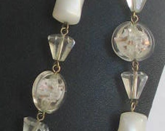 """SALE Vintage  White  Beads  Lucite Crystal Glass Necklace 52"""""""