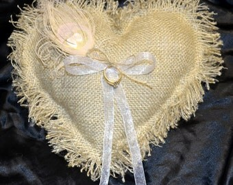 Heart Burlap Ring Bearer Pillows With Bleached Peacock Feather