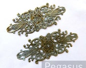 Patina Green filigree Elven Flourish Pattern (6 Pieces) bronze metal stamping with faux PATINA Art nouveau jewelry backing and for layering