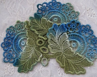Lace Flowers Hand Dyed Venise Crazy Quilt Applique Embellishment