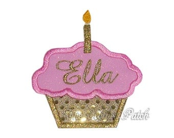 Custom Class Act........ Embroidered Iron on cupcake patch, choose your candles 1-6