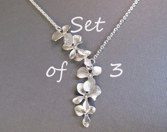 Bridesmaid Necklace Set of 3, Flower Necklace, Silver Orchid Lariat, Wedding Jewelry, Bridal Jewelry, Bridesmaids Gift, Spring Wedding