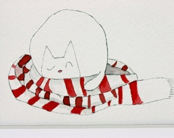 Sleeping cat, original watercolor and pen and ink, sleeping in scarf, red and white, simple, matted, children's art, nursery, winter