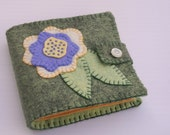 Wool Felt Needle Book: Green Cover with White and Blue appliqued flower