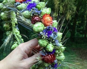 Flower crown, hops, purple statice, orange straw flower, succulents
