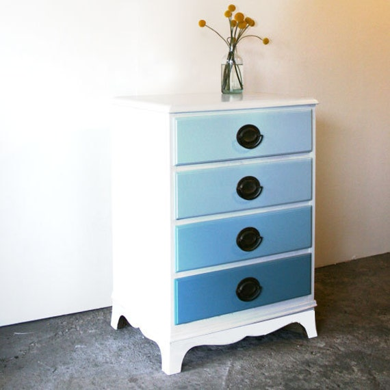 Ocean Waves Ombre Painted Wood Nightstand. Mini Dresser. Blue. Gray. Beach House. Furniture.