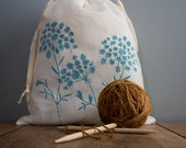 Organic Linen Drawstring Bag,  Cloth Gift Bag ,  Bread Bag , Produce Bag , Knitting Bag , Screen Printed with Queen Anne's Lace Design