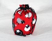 Sock sized Drawstring Knitting or Crochet bag