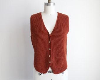 Vintage Knit Sweater Vest - Rust