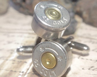 Bullet Shell Cufflinks COLT 45  two tone Starline (Silver & Gold) Up Cycled  Repurposed Cuff Links .45 caliber