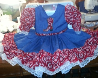 Boutique OOAK Red Bandana Western Dress and Triple Ruffle Panties or Diaper Cover Set